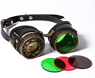 Fashion Glasses Welding Cyber Punk Gothic Cosplay Retro Vintage Victorian Steampunk Goggles Retro (Color : As Picture, Size : Free Size)