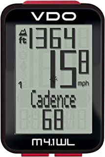 VDO M4.1 Bicycle/Bike Wireless Computer Digital Extra Durable Bike Cycling Computers with Candace Transmission - Auto On/Off - Low Battery Warning - Data Storage