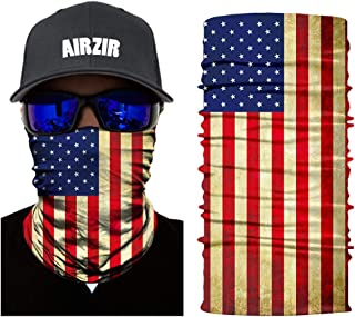Airzir American Flag Face Mask Premium Breathable Seamless Motorcycle Face Mask Wind Dust UV Protection Moisture Wicking Microfiber Face Mask for Motorcycle Riding Cycling Hiking Climbing (Flag-268)