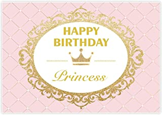 Allenjoy 7x5ft Royal Princess Backdrop for Girls Pink Gold Glitter Celebration Birthday Party Banner Cake Dessert Table Photo Studio Booth Background photocall