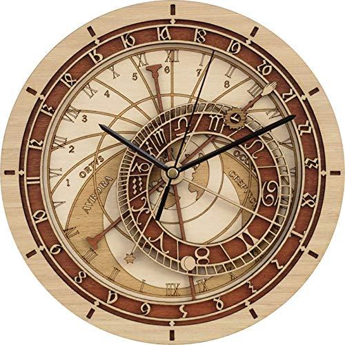 LucaSng Reloj De Pared Creativo Reloj De Madera Astronómico De Praga Reloj De Pared De Sala De Estar Reloj De Cuarzo Inicio 12Inch B