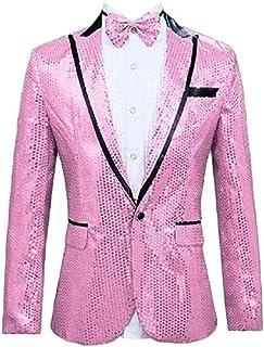 Men's Purple Sequined One Button Blazer Peak Lapel Tuxedo Jacket Wedding Coat