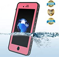 EFFUN iPhone 8/iPhone 7 Waterproof Case, IP68 Certified Shock/Dirt Proof Underwater Cover Case with PH Test Paper, Stylus Pen and Floating Strap Black/White/Pink/Aqua Blue [New Version]