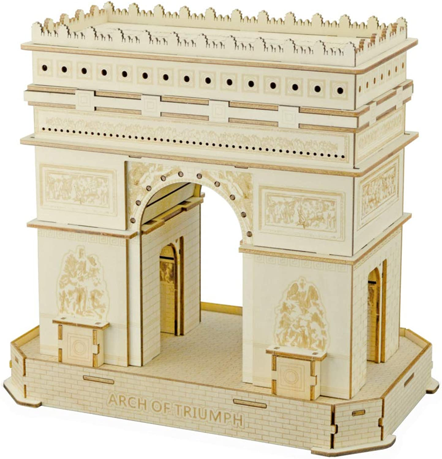 Juler Educational Toy Building Puzzle Paris Arc de Triomphe  color Boxed 3D Wooden DIY ThreeDimensional Jigsaw Puzzle boardcutting,Yellow,One Size