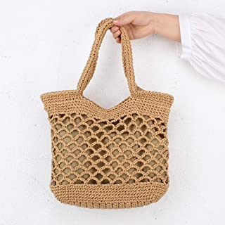 Hollow Straw Bag, Openwork Cotton Rope Woven Bag, Holiday Weave Bamboo Handle Tote, Women Shoulder Bag Rattan Straw Handbag Travel Bag, 33 * 34Cm