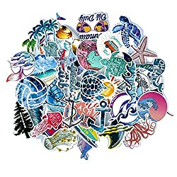 Beach Stickers 50pcs, Blue Surfing Waves Fresh Lively Turtle Laptop Water Bottle Decals Cartoon Vitality Aesthetic Sticker Pack for Teen Girl (Beach Surfing)