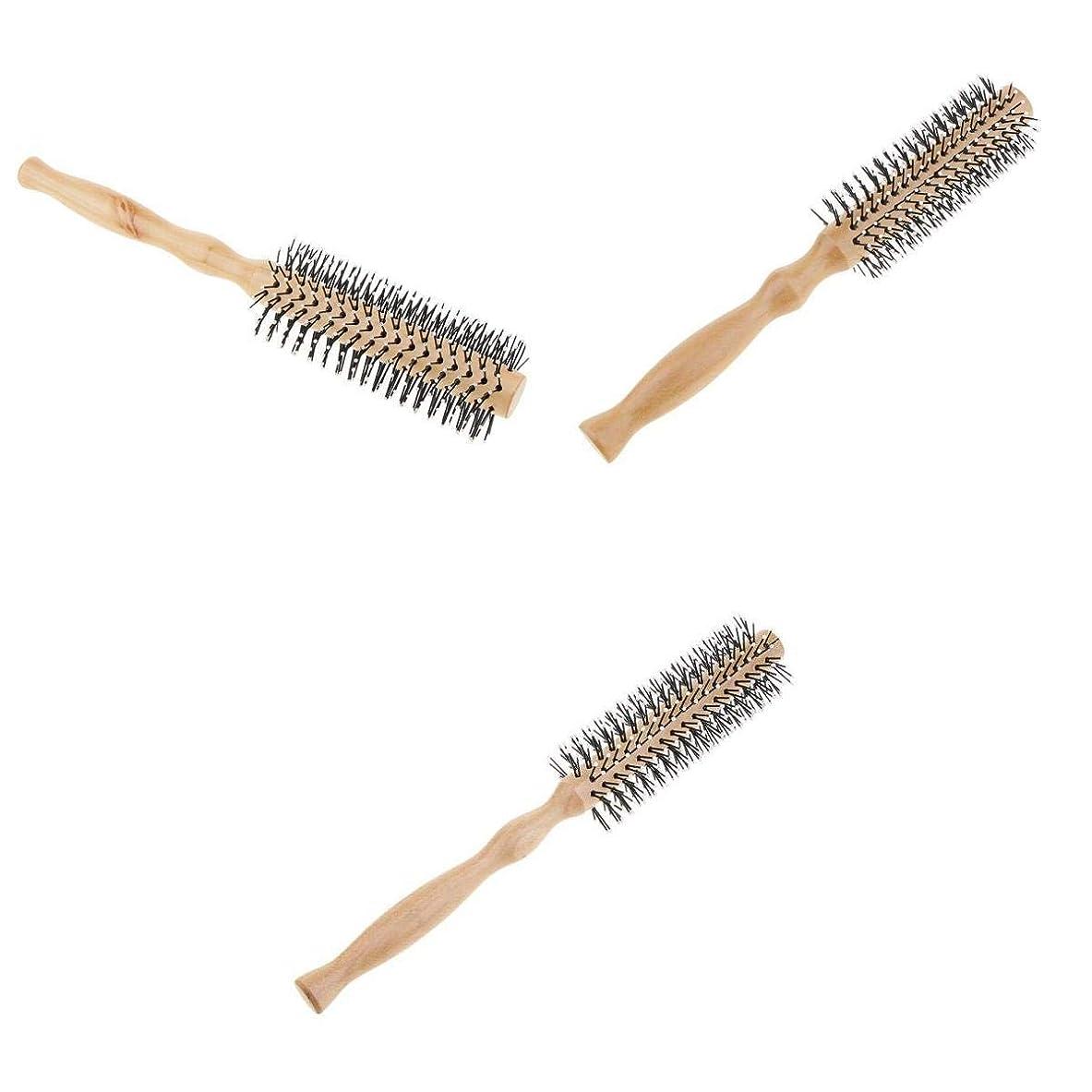 趣味快適させるT TOOYFUL ロールブラシ ヘアブラシ 木製櫛 スタイリングブラシ 巻き髪 静電気防止 3本セット