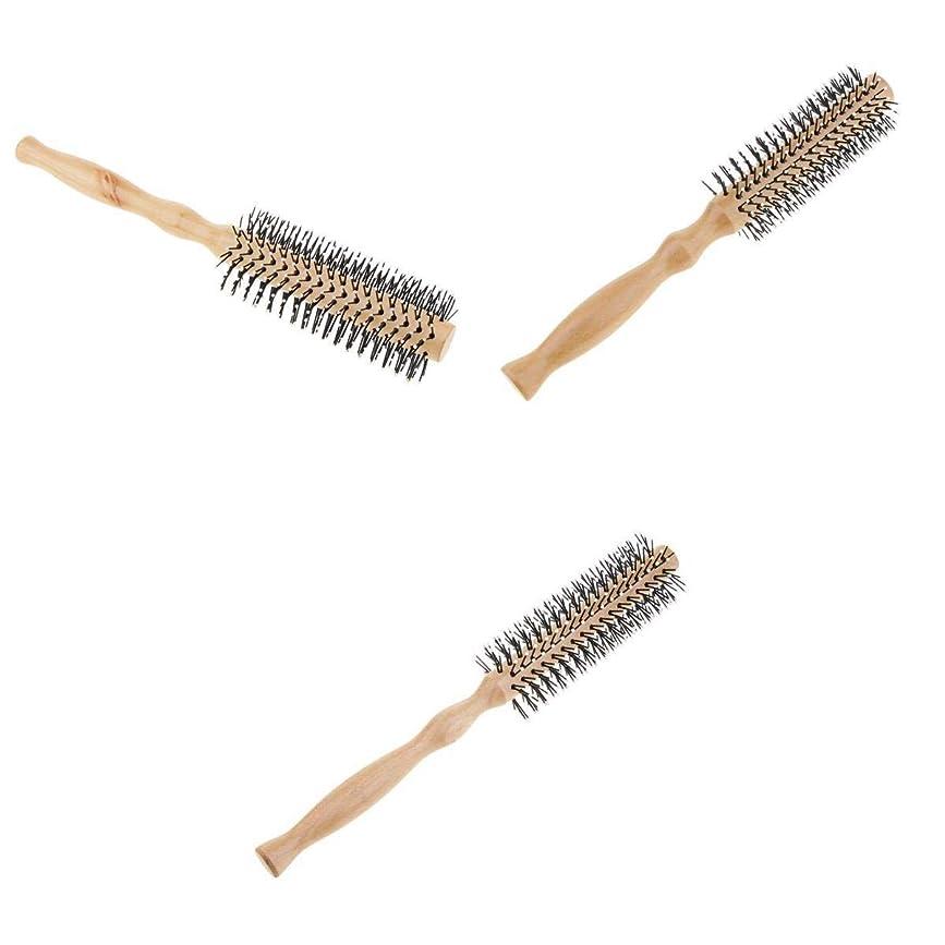 シンプルさわかりやすい弱いT TOOYFUL ロールブラシ ヘアブラシ 木製櫛 スタイリングブラシ 巻き髪 静電気防止 3本セット