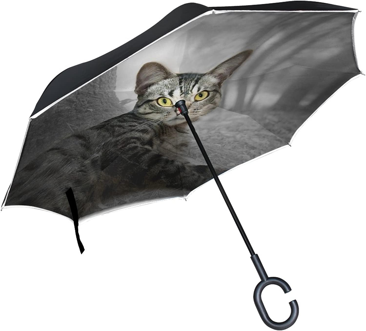 Double Layer Ingreened Cat Forest Nature Tree Fur Watch Animal World Umbrellas Reverse Folding Umbrella Windproof Uv Predection Big Straight Umbrella for Car Rain Outdoor with CShaped Handle