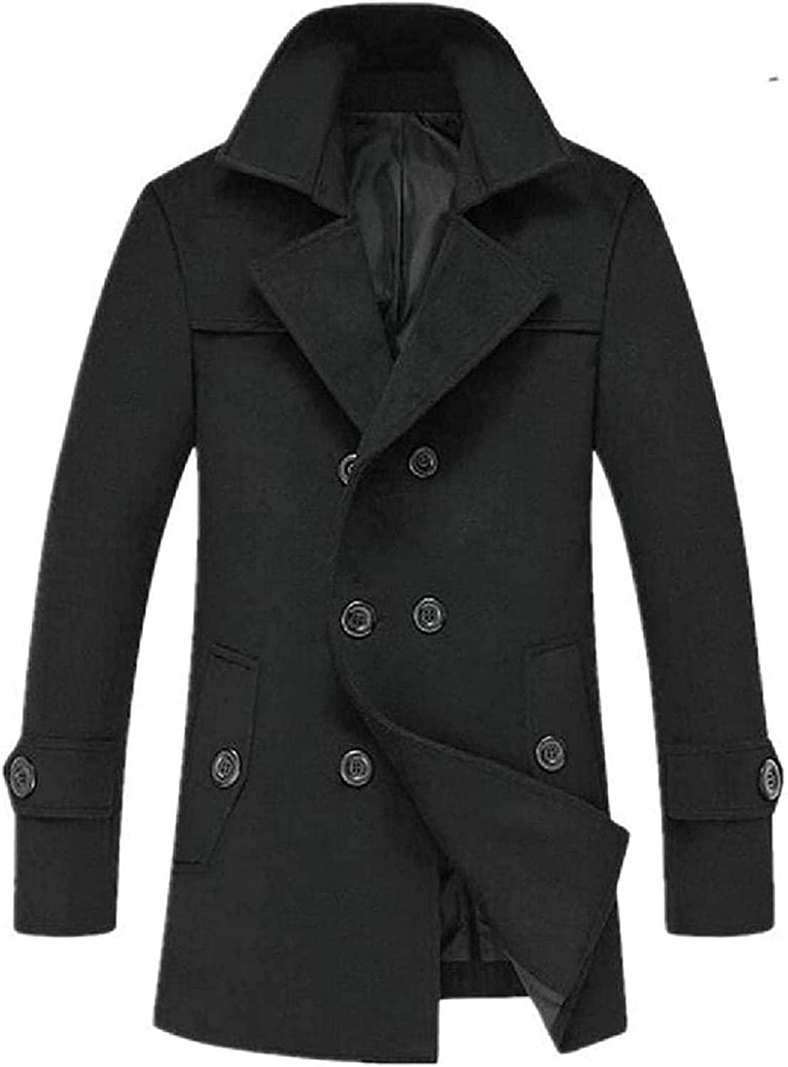 Mens Double-Breasted Wool-Blend Overcoat Winter Pea Coat