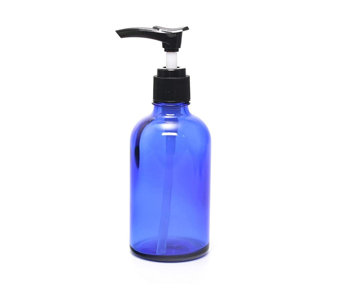 のホスト横向き誕生遮光瓶 ポンプボトル (硝子) 100ml / ブルー ? ブラックポンプヘッド (1本)