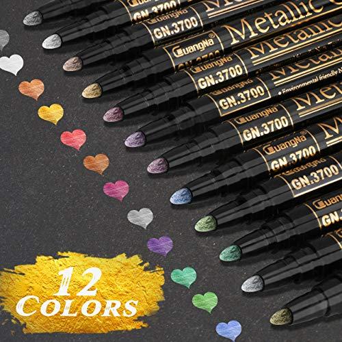 RATEL Acrylstifte Marker Stifte, 12 Farben Wasserfeste Stifte Metallic Marker Stifte Permanent Marker Paint Pens Schnelltrocknend Premium Metallischen Stift Pens für Stein, Keramik- (2 mm Spitze)