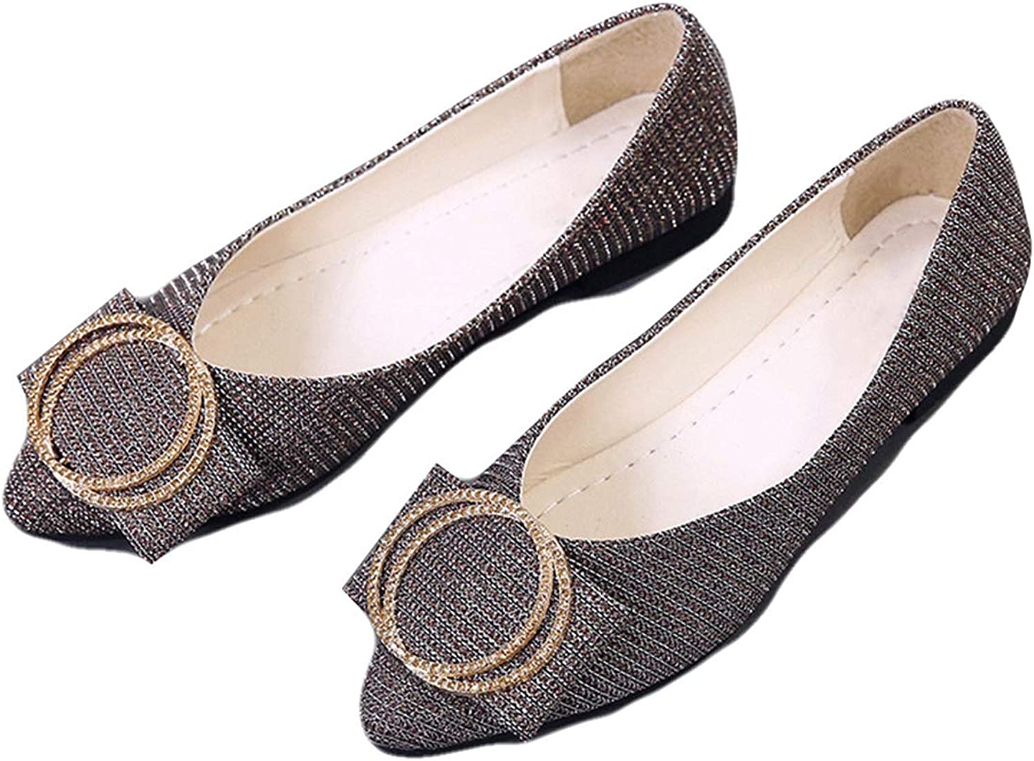 Women Flats, Fashion Metal Decoration Shallow Pointed Toe Office shoes