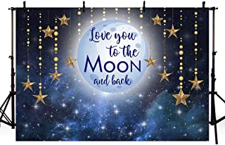 MEHOFOTO Photo Background Love You to The Moon Night Sky Gold Hanging Stars Birthday Party Decoration Banner Baby Shower Backdrops for Photography 7x5ft