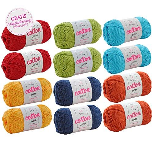 MyOma Wollpaket -Cotton Pure Wollmix Papagei groß- 12 Knäuel Cotton Pure in Rot, Gelb, Mittelblau, Hellgrün, Dunkelblau - 100% Baumwolle - Wolle zum Stricken - Baumwolle zum Häkeln - GRATIS Anleitung