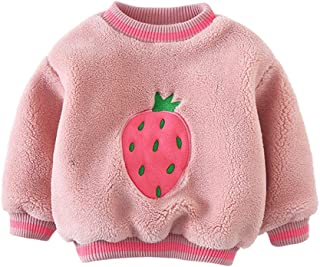 Xifamniy Infant Girls Thicken Pullover Solid Color Strawberry Print Plus Velvet Tops