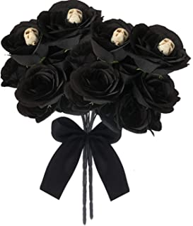 ARTINNOS Halloween Black Flowers, 4 Black Bouquet, Black Roses with 28 Heads (Polyester) and 4 Skull, Fake Black Roses, Wedding Bouquet, Centerpieces Arrangement, Halloween Party Decorations