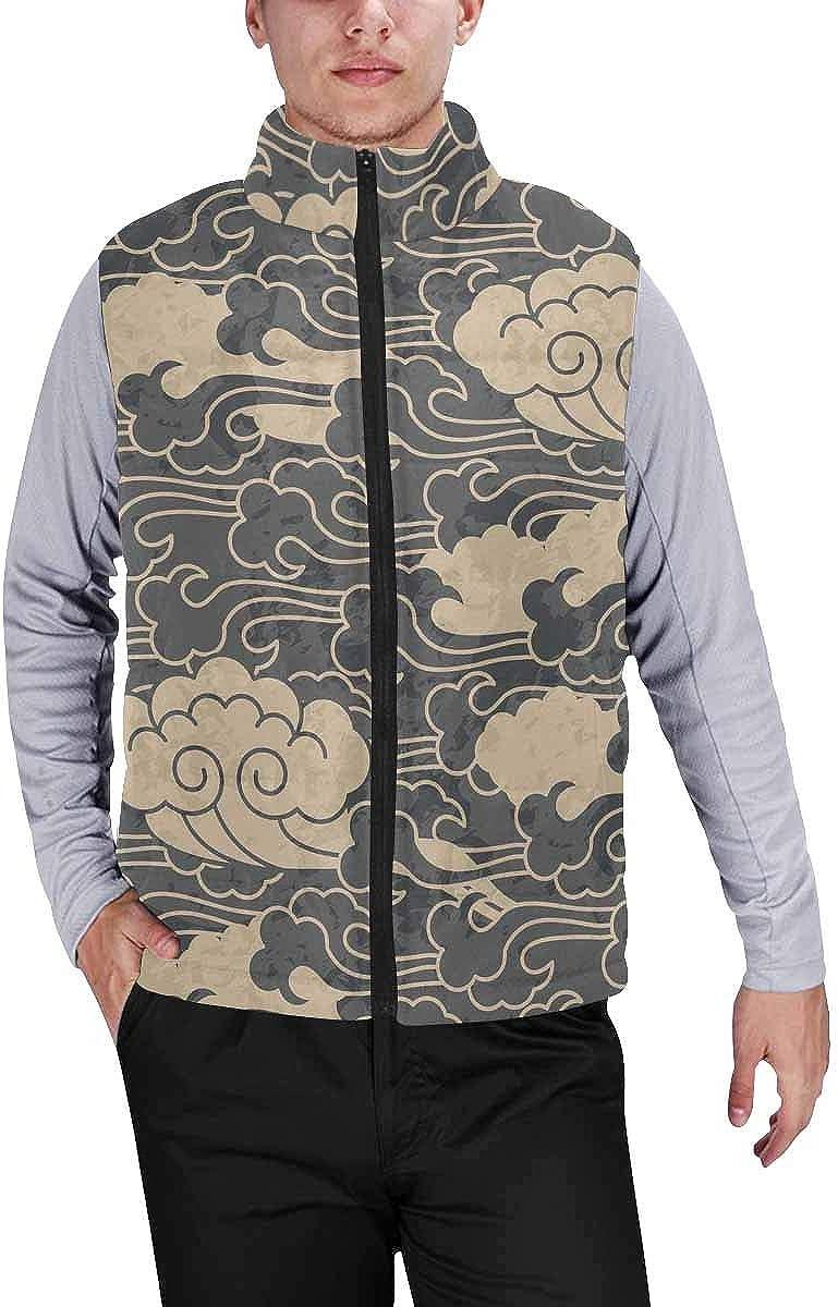InterestPrint Men's Winter Lightweight Sleeveless Padded Vest Traditional Cloud Chinese Pattern Design XXL