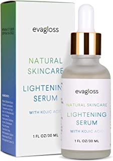 Lightening Serum with Kojic Acid, Dark Spot Corrector for Face & Body, Natural Gentle Skin Brightening & Bleaching Serum, Lightens Private, Sensitive Areas by Evagloss 30ml