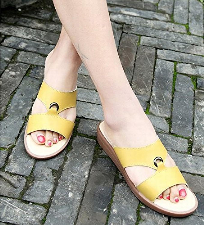 Yingsssq Damen Flip-Flops Hausschuhe flach Rutschfest Oberbekleidung Mitte Ferse (Farbe   Gelb, Gre   5.5 US 35.5 EU 3 UK)