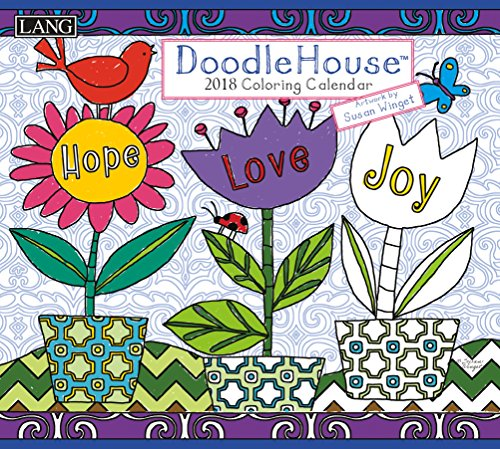 """LANG - 2018""""Coloring"""" Wall Calendar -""""Doodle House"""", Artwork by Susan Winget - 12 Month, Open Size 13.4"""" X 24"""""""