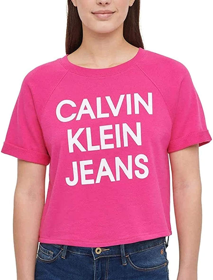 Calvin Klein Jeans Womens French Terry Logo Crop Top At Amazon Women S Clothing Store
