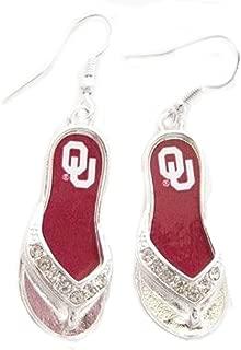 FTH Oklahoma Sooners 1.25 Inch Licensed Silver Toned Flip-flop Earrings