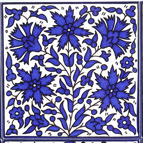 Casa Moro Orientalische handbemalte Fliese Isa-3 14,8 x 14,8 cm Kunsthandwerk aus Palästina Wandfliese für schöne Küche Dusche Badezimmer Dekoration   FL8303