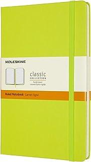 Moleskine - Cuaderno Clásico con Hojas de Rayas, Tapa Dura y Cierre con Goma Elástica, Tamaño Grande 13 x 21 cm, Color Verde Limón, 240 Páginas