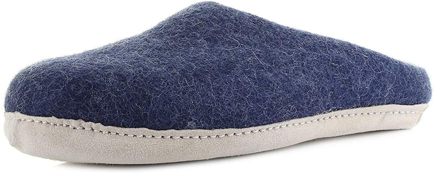 Egos Copenhagen Slippers 100% Natural Wool Handmade Slip On Comfortable with Leather Sole