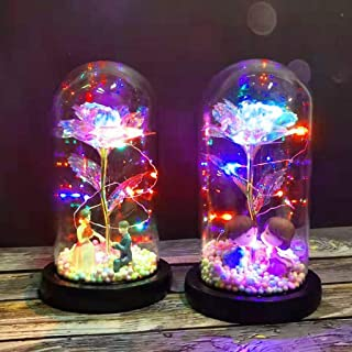 m·kvfa Artificial Flowers with Lights in Glass Dome on Wood Base Romantic Glass Rose Home Furnishing for Home Office Decorations, Anniversary, Valentine's Day,Christmas (A)