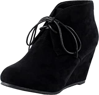Anna Sally-5 Womens Lace up Wedge Ankle Bootie