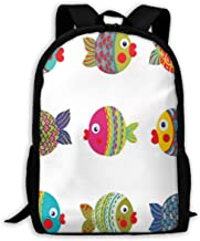 Adult Travelc Laptop Backpack,Boho Ethnic Featured Ornate Fishes Gills Under The Sea Childish Kids Nursery Theme,College School Computer Bookbag