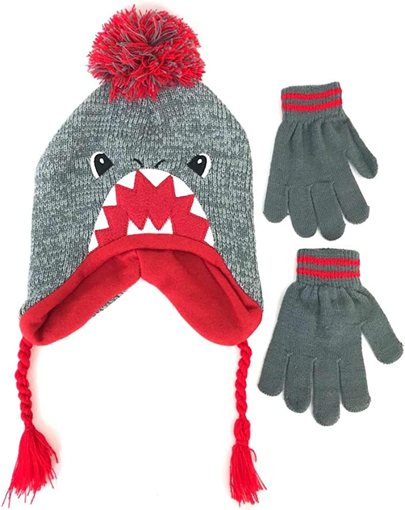 Shark Hat and Gloves Set Boys Grey Red