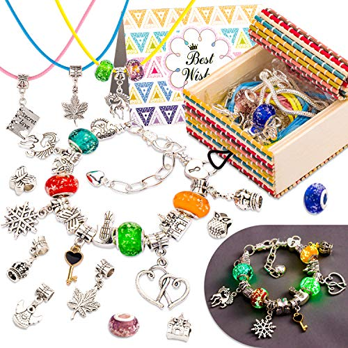 Whaline 33PCS Jewelery Making Kits, DIY Charm Kit, Night Glow Bracelet Making Set Including 1 Card, 1 Gift Box, 2 Bracelets, 3 Necklaces, 6 Glass Beads, 10 Alloy Beads, 10 Pendants DIY Arts Crafts