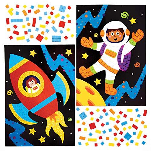 Baker Ross AW910 Solarsystem Mosaik-Kits, Kunst und Handwerk für Kinder (4 Stück), Papier