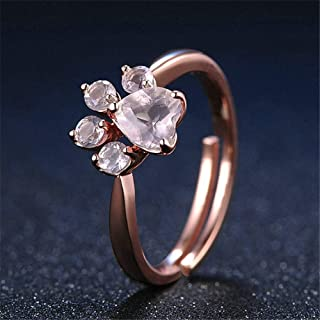 HYLJZ Anello Cut Cat Dog Bear Paw Rose Gold Resizable Rings for Women Romantic Animal Cz Heart Wedding Rings