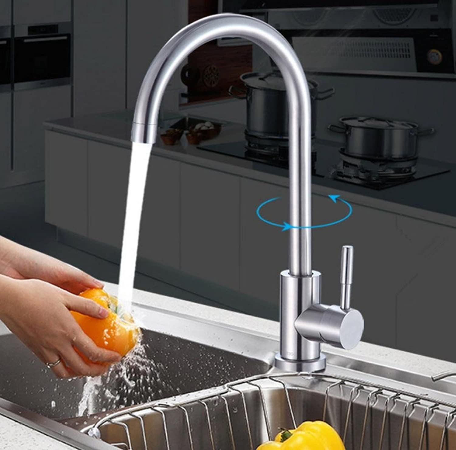 Stainless Steel Kitchen Faucet Explosion-Proof Anti-Rust Hot and Cold Faucet