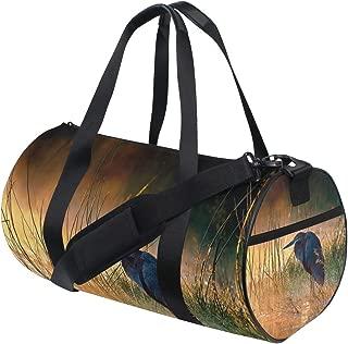 Large Sports Gym Bag Goliath Heron With Sunrise Over Misty River Sports Duffel Bag Gym Bag Overnight Travel Bag for Women & Men