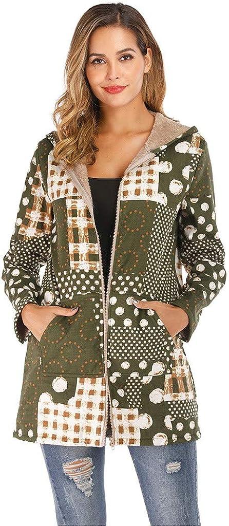 Goldweather Women Plus Size Hooded Winter Coat Winter Warm Long Sleeve Open Front Cardigan Jacket Parka Outwear with Pockets