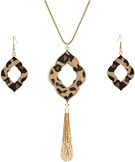 Long Necklace for Women Leopard Print Necklace Cheetah Leather Drop Dangle Earrings Set Geometric Pendant Necklace Fringe Tassel Necklace Y Chain Necklace