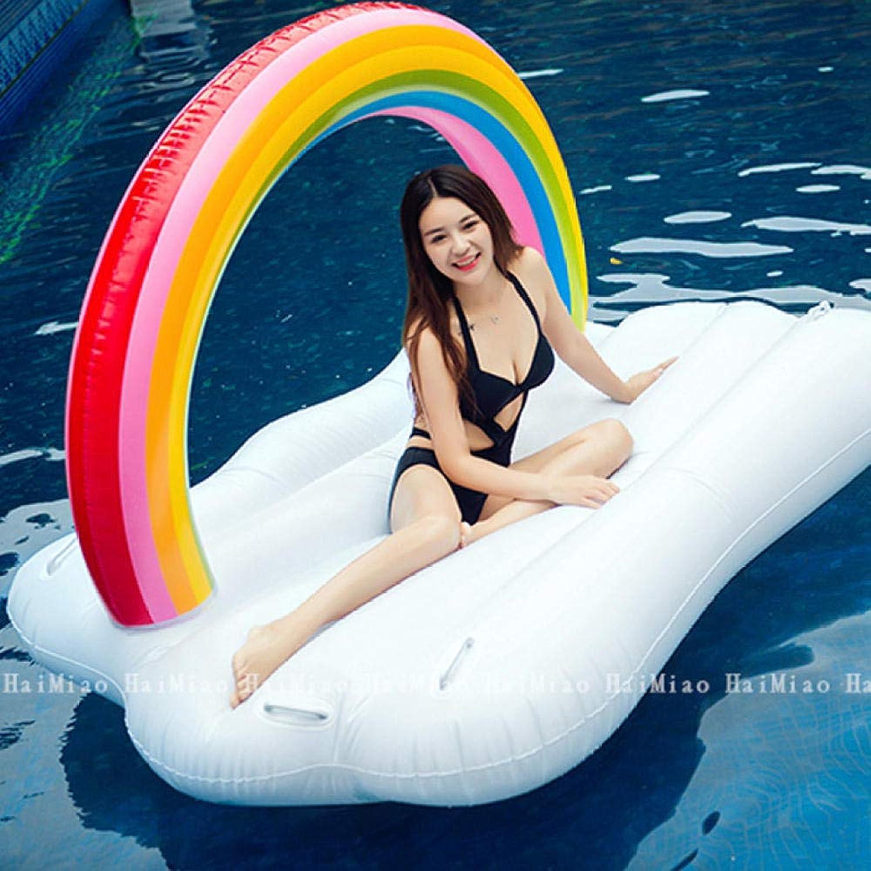 minorista de fitness Homthing Cama Flotante Anillo de natación Inflable Baiyun Baiyun Baiyun Rainbow Juguete acuático PVC Jugara mar Piscina  bienvenido a orden