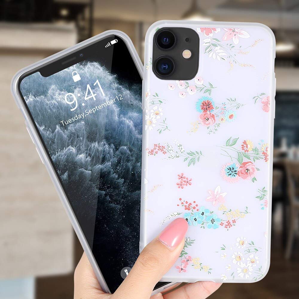 Enflamo Soft TPU 3D Relief Flower Printed Phone Case Back Cover for iPhone 11 ( White, Mix Lilies)