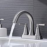VCCUCINE Bathroom Faucet ,Best Commercial Stainless Steel Centerset Brushed Nickel 2 Handles Bathroom Sink Faucet , Lavatory Vanity Sink Faucet with Two 3/8' Water Hoses