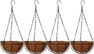 4Pcs Metal Hanging Planter Basket with Coco Coir Liner 14 Inch Round Wire Plant Holder with Chain Porch Decor Flower Pots Hanger Garden (10inch)