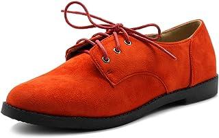 Ollio Womens Oxford Flats Orange Size: 9