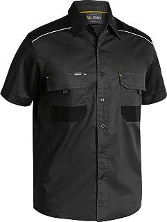 BISLEY WORKWEAR Unisex Flex & Move Mechanical Stretch Shirt Short Sleeve Gun Metal Grey