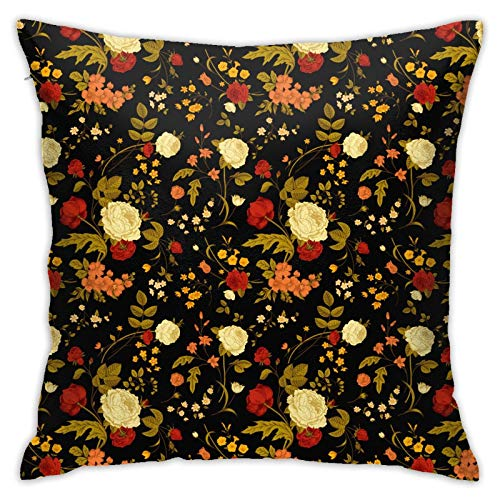 wteqofy Vivid-Flowers-On,Pillow Case Couch Pillow Cover Durability Soft Thanksgiving Toddlers Bedrooms Spas for Home Decorative Bedroom/Living Room/Car 18inch*18inch