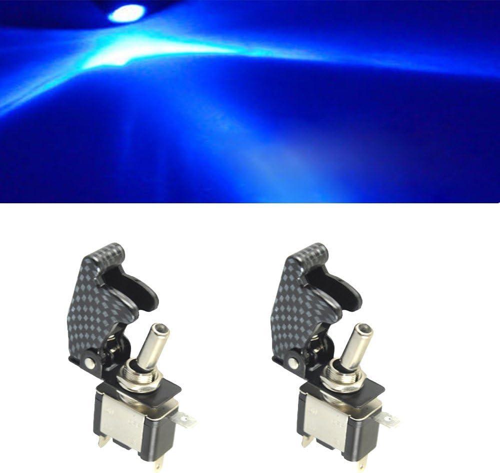 Mintice Trade 2 X Kfz Auto Boot Blau Led Licht Schalter Spst Ein Aus Wippenschalter Kippschalter 3 Polig 12v 20a Kohlefaser Auto