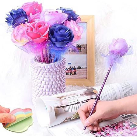 Fashion Rose Flower Ball Pen Ballpoint - Mixed Five Colors - Blue Ink Pens Bullet (12pcs)